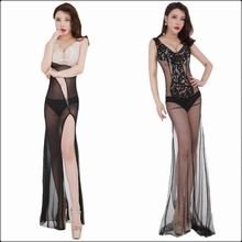 Women Sexy Mesh Transparent Evening Maxi Dress Long Backless Erotic Lace Tank Dress Split Hem Exotic Prom Nightclub Party Dress