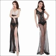 Women Sexy Mesh Transparent Evening Maxi Dress Long Backless Erotic Lace Tank Split Hem Exotic Prom Nightclub Party