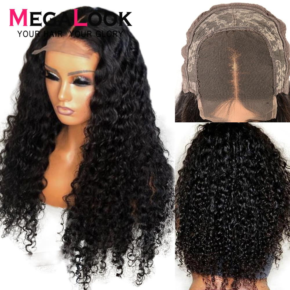 Deep Wave Wig 4x4 Lace Closure Wig Human Hair Wig  Remy Peruvian Wigs For Black Women Megalook Lace Wigs
