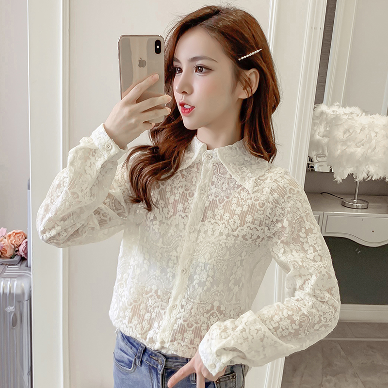 COIGARSAM Fashion Lace Shirt Womens Tops New Spring Korea Style Office Lady Full Sleeve Chiffon Women Shirts White Apricot 6069