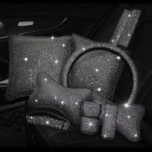 Image 2 - Capa para volante de carro, capa com brilho de cristal, strass, couro pu de alta qualidade para automóveis de 38cm e 15 polegadas volante volante