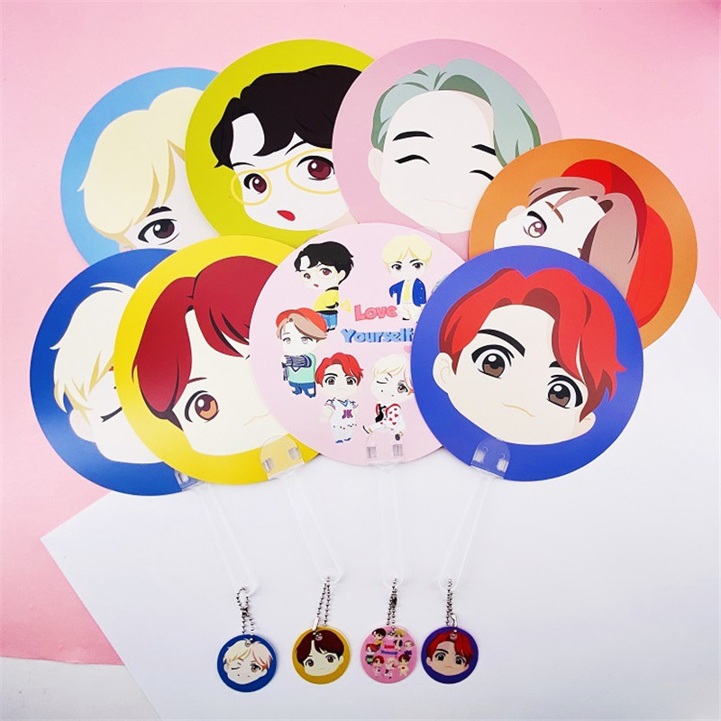 New Kpop The House Of Bangtan Boys Love Yourself JK The Same Handmade Fans PVC Cartoon Fans Gift 18*18CM With Pendant