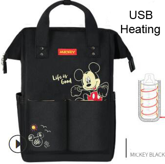 Disney Diaper Bag Backpack For Moms Baby Bag Maternity For Baby Care Nappy Bag Travel Stroller USB Heating Send Free 1Piar Hooks - With USB