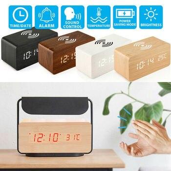 Reloj despertador Digital con mesita de noche de madera, reloj de mesa, reloj de escritorio, cargador de teléfono para Iphone Samsung, reloj Digital Led con Control de sonido