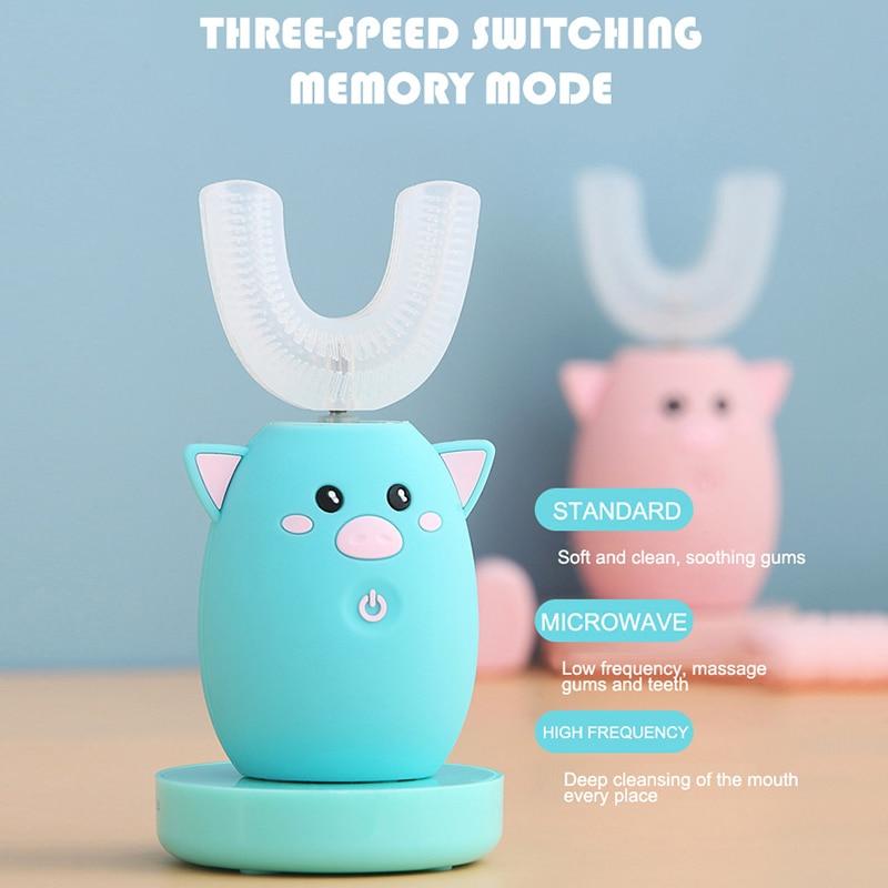 Умная электрическая зубная щетка для детей, перезаряжаемая u-образная зубная щетка, 3 режима, 360 градусов