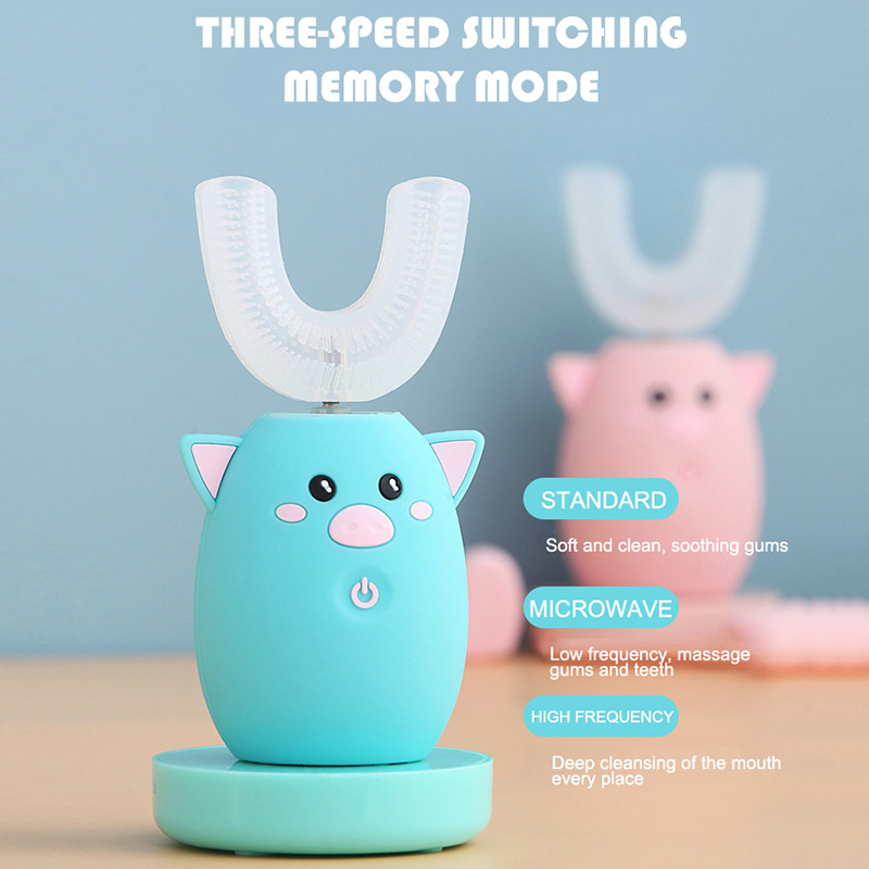 Children 360 Degrees Sonic Intelligent Automatic Electric Toothbrush 3 Modes Rechargeable U Type Toothbrush For kids best gift image