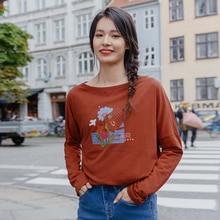 INMAN, весна 2020, Новое поступление, Свободный пуловер с круглым вырезом и длинными рукавами, универсальная Футболка