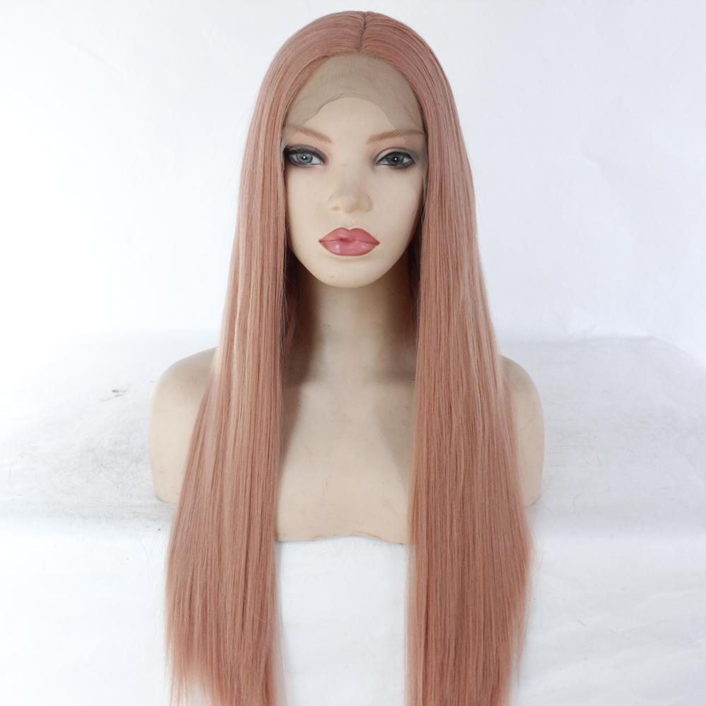 MRWIG Middle Part  Dark Pink Long Straight Heat Resistant Fiber Glueless Wigs For Women Synthetic Lace Front Wig