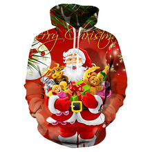 New Christmas Children's Clothes Fashion 3D Print Hoodie Baby Girl Boy Santa Sweatshirt Kids Party Long Sleeve Hoodie Sweatshirt christmas santa graphic pompon embellished sweatshirt
