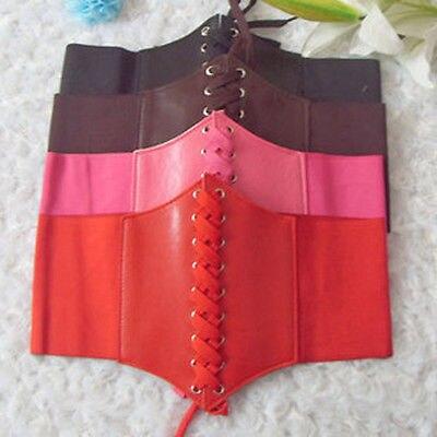 Women Ladies Adjustable PU Leather Wrap Around Tie Corset Cinch Wide Waist Dress Belt