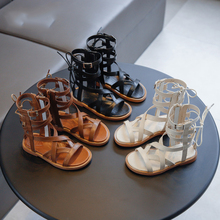Girls Sandals Soft Bottom Summer High Top New Children High Roman Shoes Baby Teen Girls Gladiator Beach Shoes Fashion Size 26-36