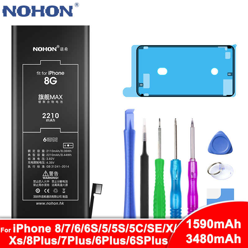 NOHON Battery For iPhone 6S 6 7 8 Plus 5 5S 5C SE X Xs 8Plus 7Plus 6Plus 6SPlus Replacement Bateria For iPhone6S iPhone7 iPhone8 title=