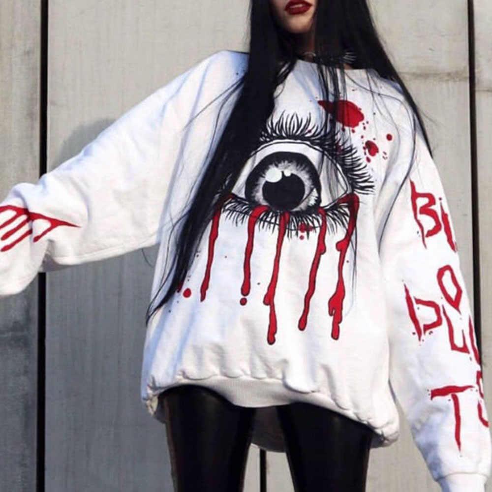 장미 빛 고딕 해골 인쇄 검은 까마귀 여성 두건이있는 운동복 큰 크기 캐주얼 Streetwear 힙합 대형 후드 2020
