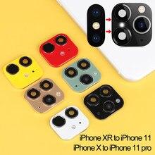 Novo luxo falso câmera lente adesivo capa protetor de tela para iphone xr x mudança para iphone 11 pro max telefone acessórios