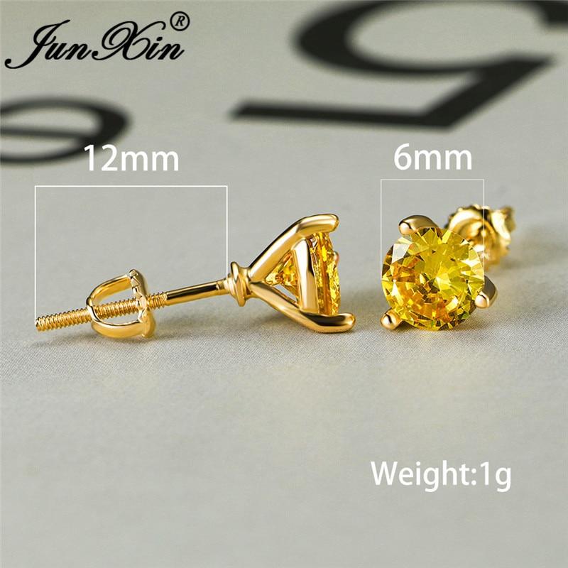 Male Female Multicolor Zircon 6MM Round Earrings Yellow Gold Black Blue Purple Crystal Stone Wedding Stud Earrings For Women Men