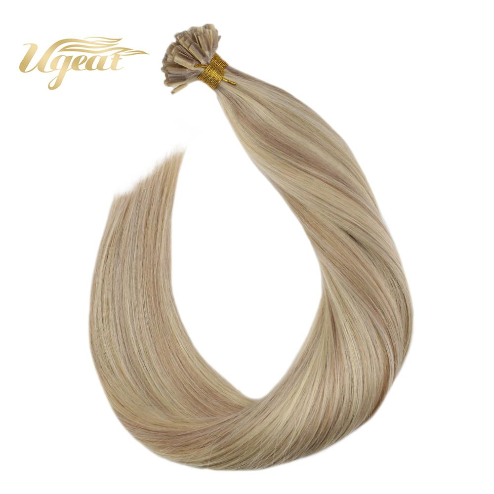 Ugeat Human Hair Nail Tip Hair Extensions 14-24