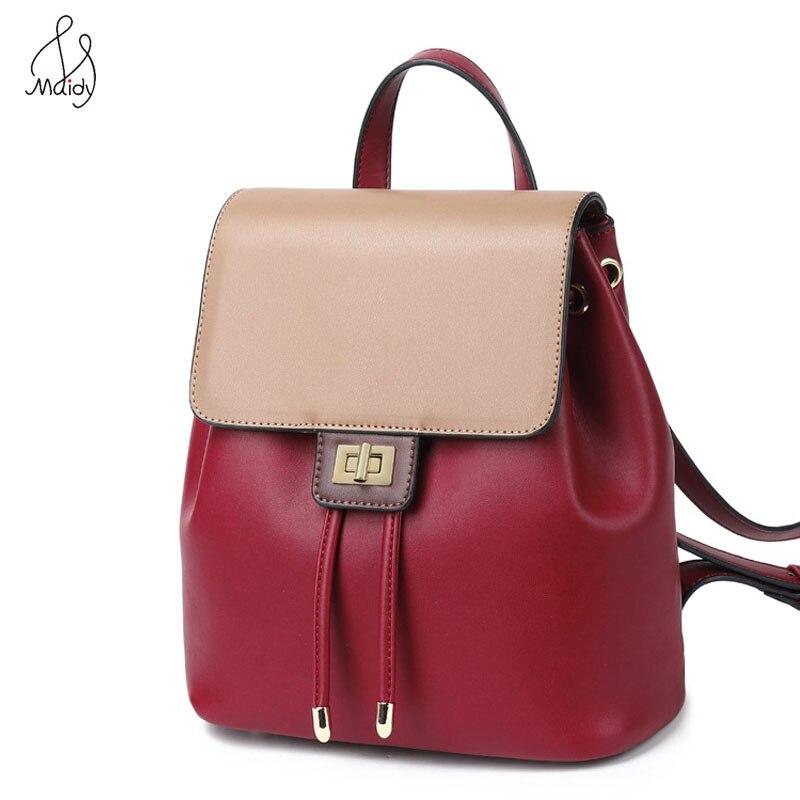 Vintage Fashion Contrast Color Women Backpack Cowhide Leather Backpack Female Shoulder Bag Large Capacity Multifunction Backpack