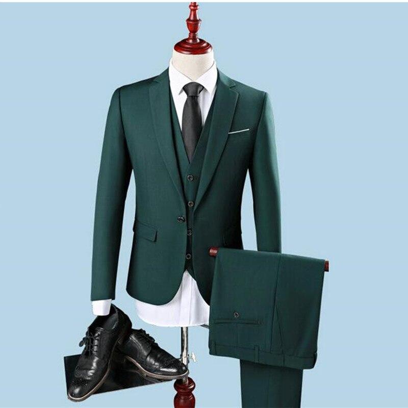 New Men's Formalwear Business Thin Section Wedding Suit 3 Piece Suit Suit Pioneers Jacket Pants Vest