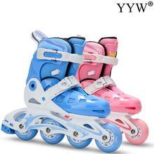 Blade Sliding Roller-Skates Skating Inline Girls 4-Wheels Outdoor Kids Adjustable Blue