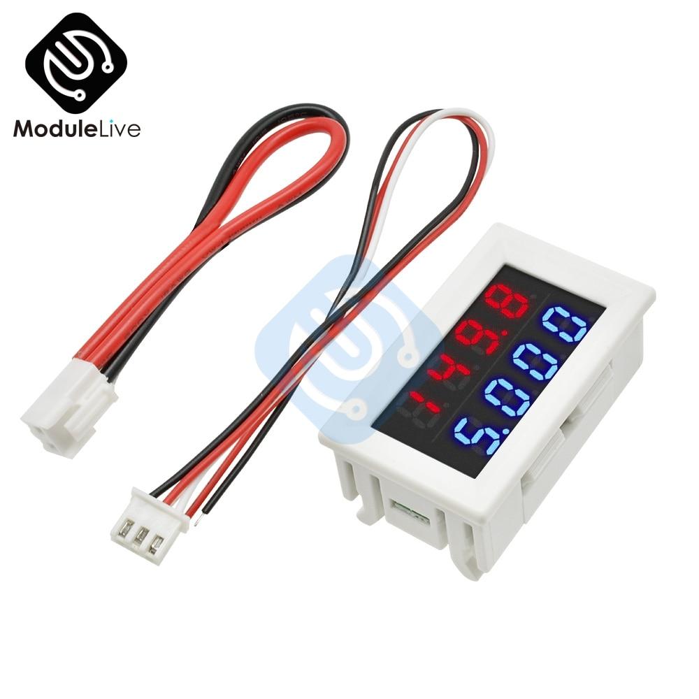 DC 10A 0-200V Voltmeter Ammeter Red+Red LED Amp Dual Digital Volt 5 Wires