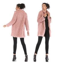 Сплошной цвет искусственного меха плюшевые свободные пальто флис куртка с отложным воротником карман на молнии пальто из искусственного меха осень зима пальто на 2XL