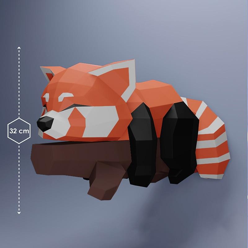 Sleeping Fox 60cm Paper 3D DIY Material Manual Creative Home Decor Props #6452 Hand Made Cute Geometric Paper Figures