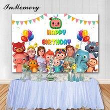 InMemory Cocomelon 파티 배경 사진 다채로운 생일 축하 아기 사진 배경 사진 스튜디오 소품 Photocall