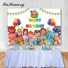 Inmemory Cocomelon Party Achtergronden Fotografie Kleurrijke Gelukkige Verjaardag Baby Foto Achtergrond Fotografie Studio Props Photocall