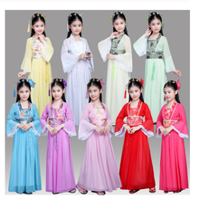 цена на Chinese Traditional Hanfu Dress Child Clothes Folk Dance Girl Old Chinese Opera Tang Dynasty Han Ming Costume Tangsuit For Kids