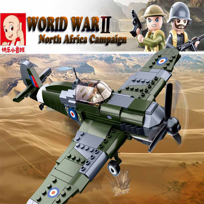 Sluban 290Pcs World War II Supermarine Spitfire Plane Building Blocks WW2 Military Fighter Toys As Christmas Gift For Children image