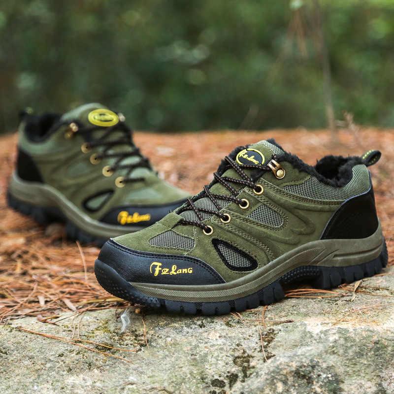 Winter Herfst Mannen Outdoor Schoenen Big Size 37-48 Comfortabele Wandelen Mannen Sneaker Casual Kwaliteit Waterdichte Rubber Enkel Warm laarzen