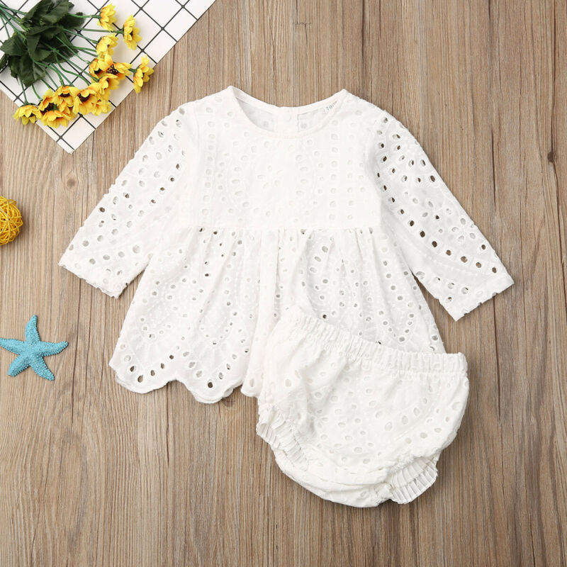 2019 Baby Spring Autumn Clothing Newborn Infant Baby Girls Kids Long Sleeve Hollow Out Top Dress Shorts Outfit Clothes 2pcs Set