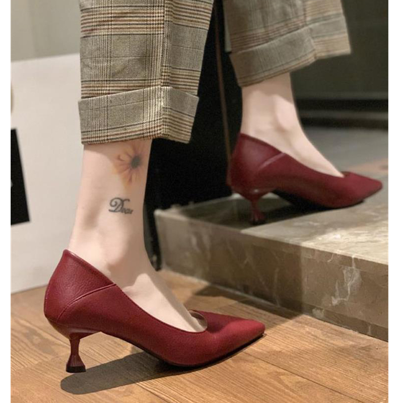 EOEODOIT 2020 Spring Women Leather Pumps Mid Heels Shoes Pointy Toe Stable Kitten Heel Office Work Shoes Casual Daily 5cm