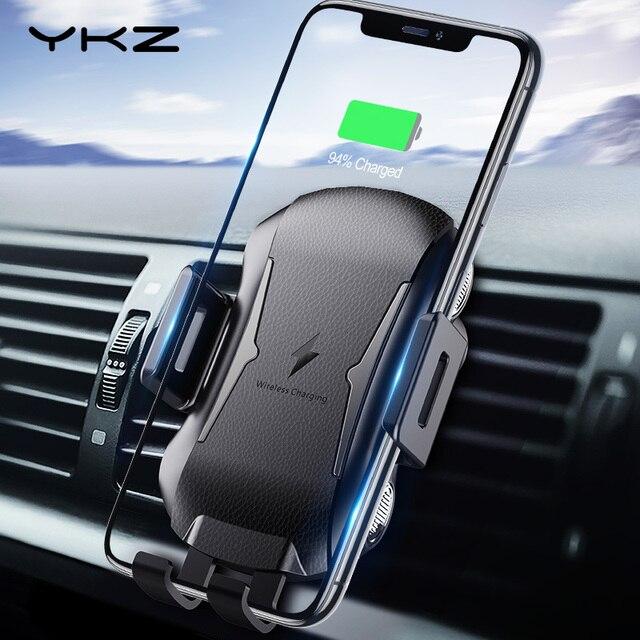 YKZ Qi Wireless Caricabatteria Da Auto per iPhone XS Max Samsung S10 Veloce Senza Fili Caricabatteria Da Auto Mount Supporto Del Telefono Mobile per huawei Xiaomi