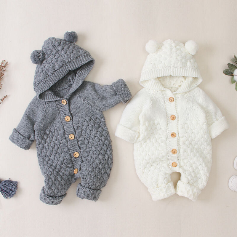 Baby Toddler Girls Knitted Sweater Winter Princess Romper Jumpsuit Clothes for 3-24 Months