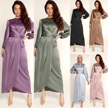 Satén vendaje Abaya Dubai Turquía Hijab musulmán vestido India Europea americana ropa Islam Vestidos africanos para mujeres Vestidos