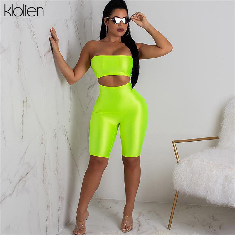 KLALIEN Women Sexy Short Fluorescence Playsuits 2020 Short Hollow Out Strapless Female Sexy Skinny Solid Party Rompers Playsuits