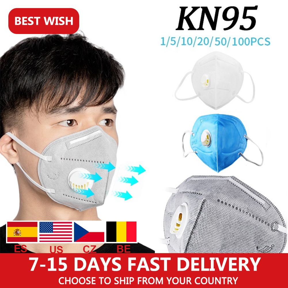 1/5/10pcs Protective KN95 FFP3 Mouth Mask Anti-Fog Dust KN95 Mask With Breathing Valve Folding Band Fast Delivery