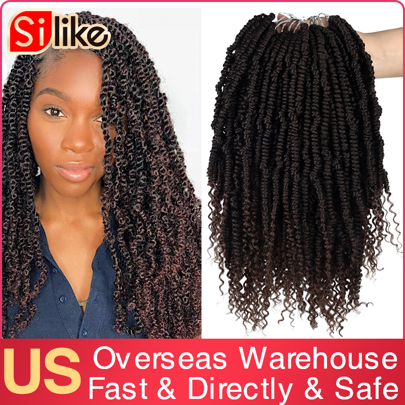 Silike Passion Twist 12 Inch Fluffy Pre Twisted Prelooped Crochet Braids Ombre Nubian Twists Synthetic Braiding Hair Extension