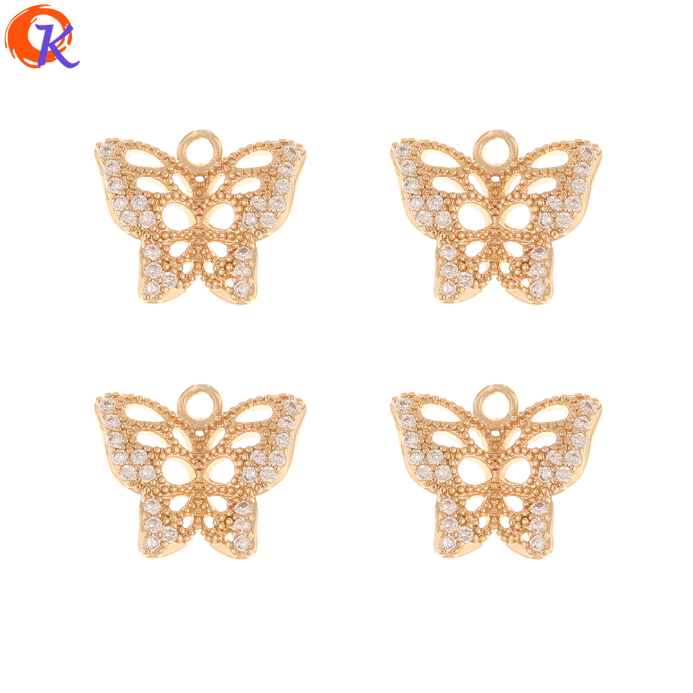 Cordial Design 50Pcs 12*14MM DIY Jewelry Making/Earring Findings/Pendant/Butterfly Shape/Jewelry Accessories/Hand Made/CZ Charms