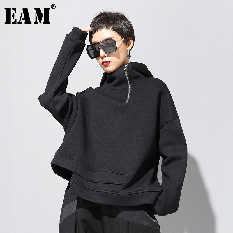 [EAM] Loose Fit Asymmetrical Oversized Sweatshirt New Hooded Long Sleeve Women Big Size Fashion Tide Spring Autumn 2020 19A-a527