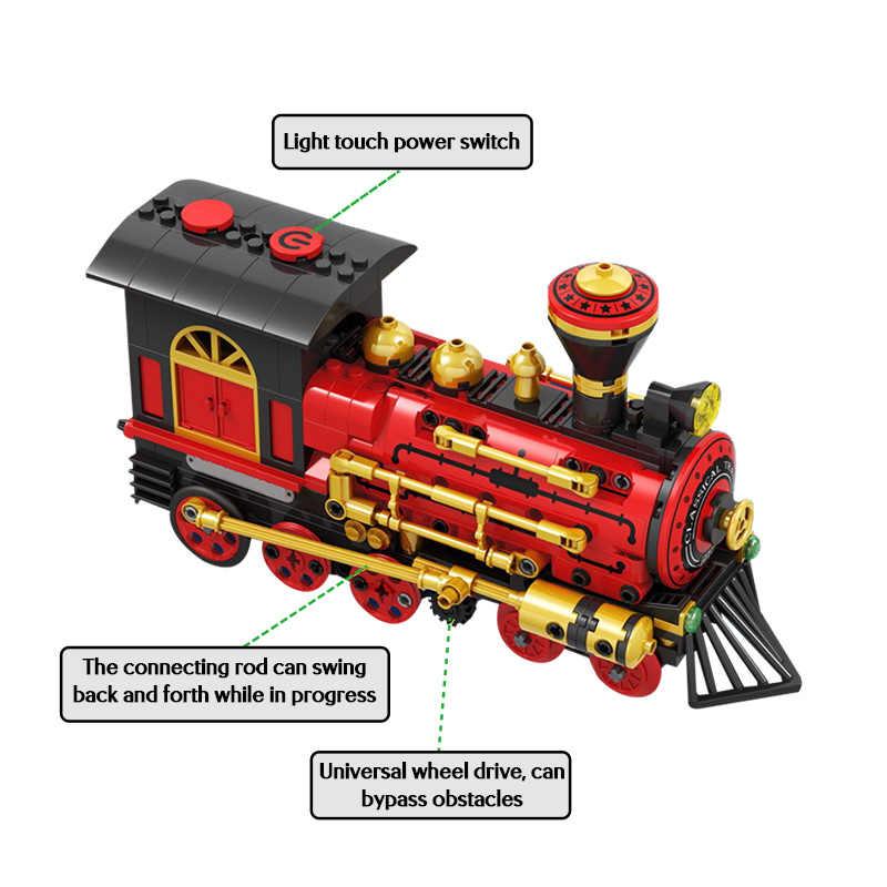 372 pces elétrico clássico trem blocos de construção para legoings técnica cidade clássico power train moc modelo tijolos brinquedos para crianças