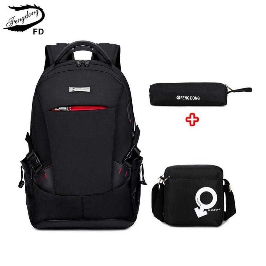 FengDong 2PCS//Set Luminous USB Port Boy Students School Backpack With Chest Bag