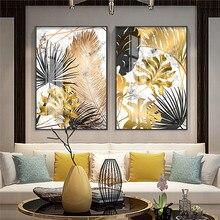 Preto folha de ouro plantas pintura diamante moderna abstrata decoração para casa pintura da arte parede nórdico imagem sala estar decoração