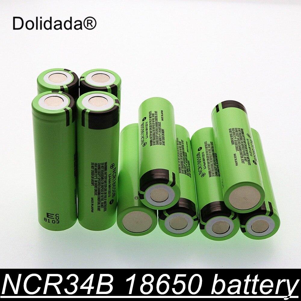 Dolidada nouveau 100% original 18650 batterie 3400mah 3.7v batterie au lithium pour NCR18650B 3400mah batterie de lampe de poche.
