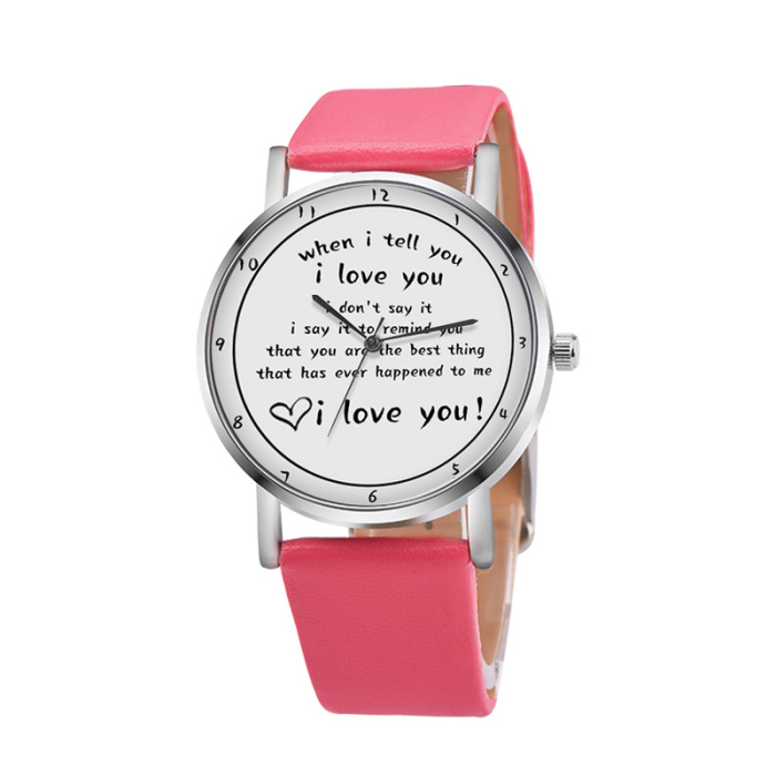 Letters Printed Watch Quartz Watch with PU Leather Strap I LOVE YOU Watch for Women Girls H9