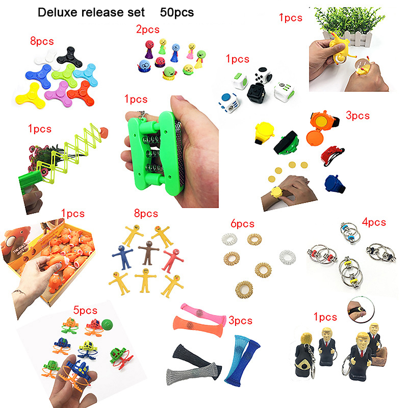 2019 New Funny Combination 50 Pieces Extrusive-Solving Fidget Kids Toys Amazon Hot Selling Luxury Toy Set Wholesale
