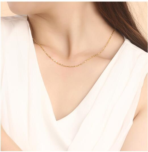 Authentic 24K 999 Yellow Gold Full Necklace For Women Female Best Gift Lover Party Wedding Necklace New 2.5-3g Hot Fashion 5