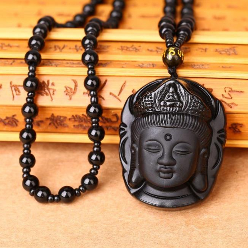 Natural Black Obsidian Necklace Hand Carved Chinese Buddha Lucky Amulet Pendant Necklace Jewelry Energy Healing Gift