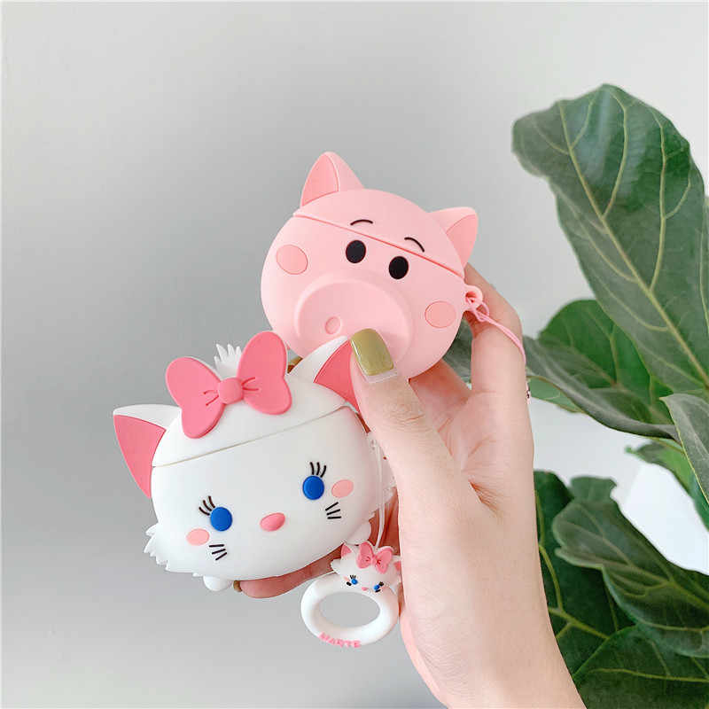 For AirPods Case Cute Cartoon Protective Cover Wireless Earphone Case For Air pods 2 Headphone case with Finger Ring Strap cover